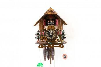 1 Tag-Werk  Schwarzwaldhaus Kuckucksuhr mit visuellem Uhrwerk, Holzhacker, Mühlrad, Musik und Tänzer