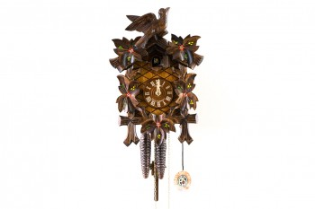 1-day carved cuckoo clock with bird and leaves