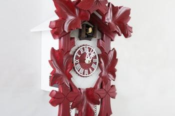 Quarz Kuckucksuhr Schnitzerei  modern rot-weiß bemalt