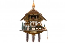 8-day Black Forest house style cuckoo clock with kissing couple, music and dancers