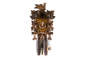 8-day carved cuckoo clock with leaves and bird