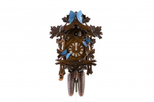 8-day carved cuckoo clock with blue butterflies