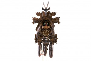8-day carved cuckoo clock with dear, rabbit, woodpecker, music and dancers