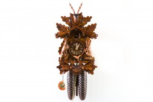 8-day carved cuckoo clock with dear, rabbit, pheasant