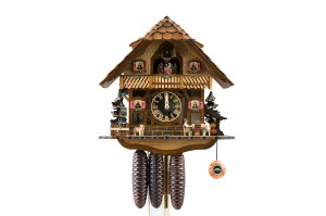 8-day Black Forest house cuckoo clock with visible clockwork, music and dancers
