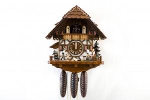 8 Tage-Werk Fachwerkhaus Kuckucksuhr mit Spinnrad, Musik und Tänzer