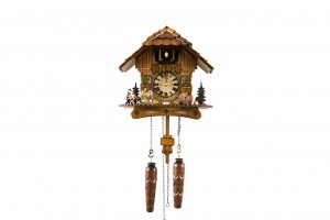 Quartz Black Forest house cuckoo clock with musicians and music